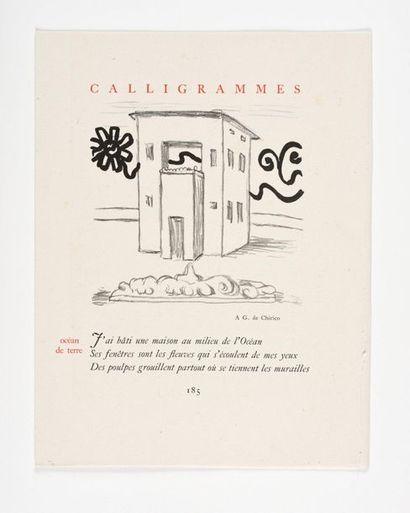 DE CHIRICO (Giorgi o). – APOLL INAIRE (Guillaume ). Calligrammes. [Paris], librairie...
