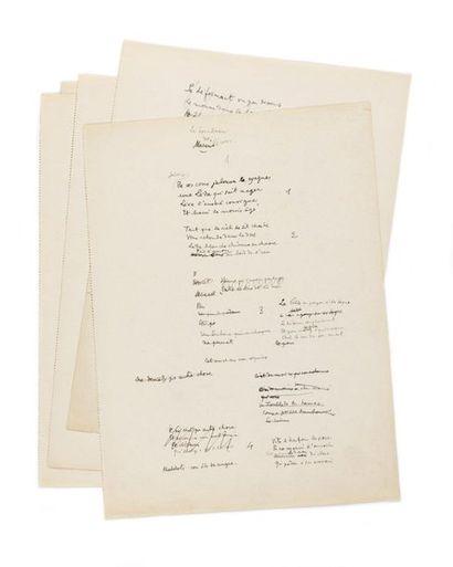 COCTEAU (Jean). Poème intitulé « Le Tombeau...