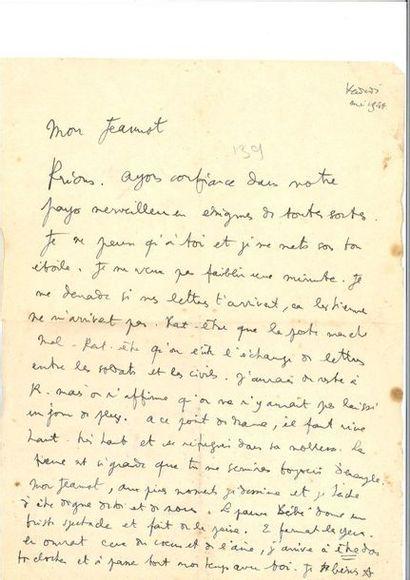 COCTEAU (Jean). Lettre autographe paraphée...
