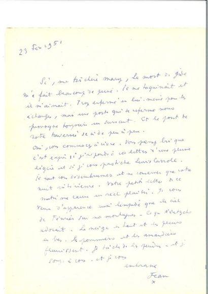 COCTEAU (Jean). Lettre autographe signée...