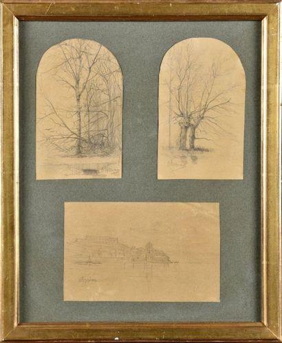 Adolphe APPIAN (1818-1898) Etudes d'arbres...