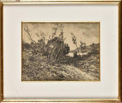 Henri Joseph HARPIGNIES (1819-1916) Paysage Fusain Signé en bas à gauche et dédicacé...