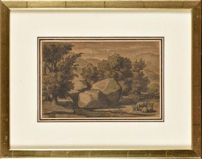 Alexandre Gabriel DECAMPS (1803-1860) Vaches...