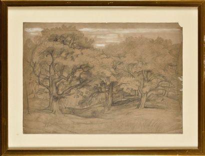 Louis CABAT (1812-1893) Sous-bois Mine Signé et daté (1851) Cachet de l'atelier...