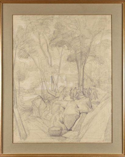 Théodore CARUELLE D'ALIGNY (1798-1871) Scéne allégorique Crayon et rehauts de craie...