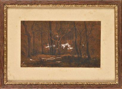 Michel BOUQUET (1807-1890) Forêt Lavis sur...