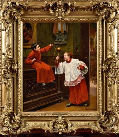 Paul-Charles CHOCARNE-MOREAU (1855-1931) Les Enfants de choeur au bilboquet Huile...