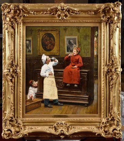 Paul-Charles CHOCARNE-MOREAU (1855-1931) Entre deux larrons Huile sur toile Signé...