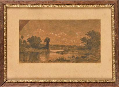 Michel BOUQUET (1807-1890) Etang lavis sur carton Signé en bas à gauche 23.5 x 12.5...