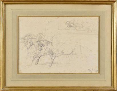 Rosa BONHEUR (1822-1899) Etude de chevaux...