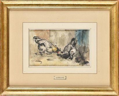 Antoine VOLLON (1833-1900) Poules Aquarelle...