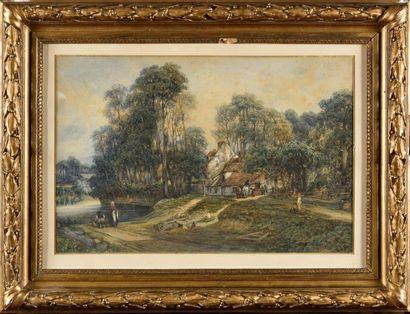 Camille FLERS (1802-1868) Chaumière au bord...