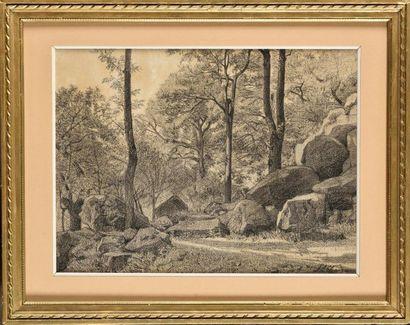 Jean Ferdinand CHAIGNEAU (1830 - 1906) L'orée du bois Charcoal on paper, signed...