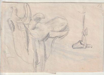 """""""Théodore CHASSERIAU (1819-1856) Homme tenant un cheval par la bride pour le """"""""Portrait..."""