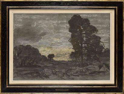 Théodore ROUSSEAU (1812-1867) Arbres et rochers,...