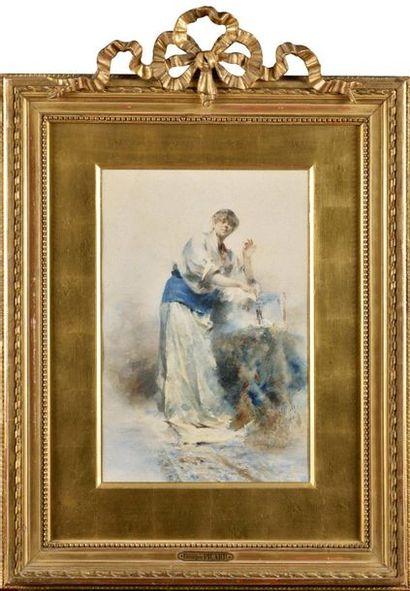 Georges PICARD (1857-1946) Elégante accoudée...