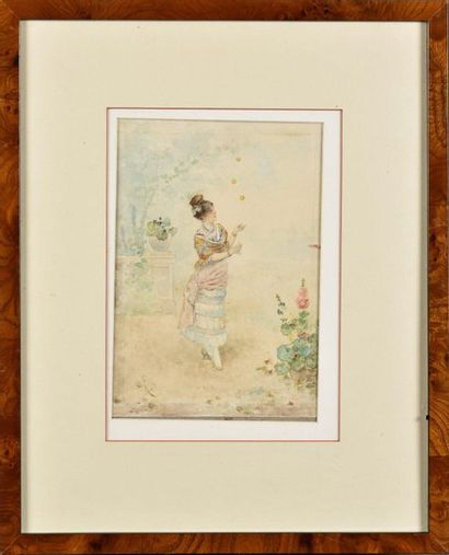 C.PUJOL (XIXe) Elégante jonglant Aquarelle...