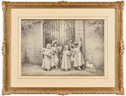 Lionel PERAUX (1871-?) La visite des petites...