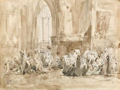 Eugène BOUDIN (1824-1898) Religieuses en...