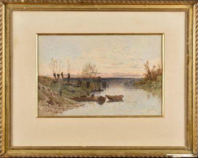Eugène CICÉRI (1813-1890) Paysage animé aux...