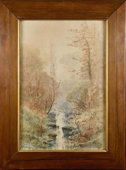Auguste ALLONGE (1833-1898) Rivière en forêt...