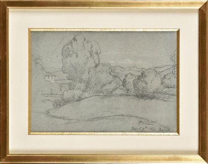 Alexandre DESGOFFE (1805-1882) Sous-bois à la maison Crayon et craie blanche Signé...