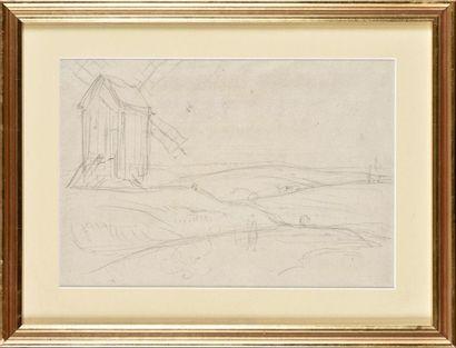 Louis CABAT (1812-1893) Moulin sur la colline...