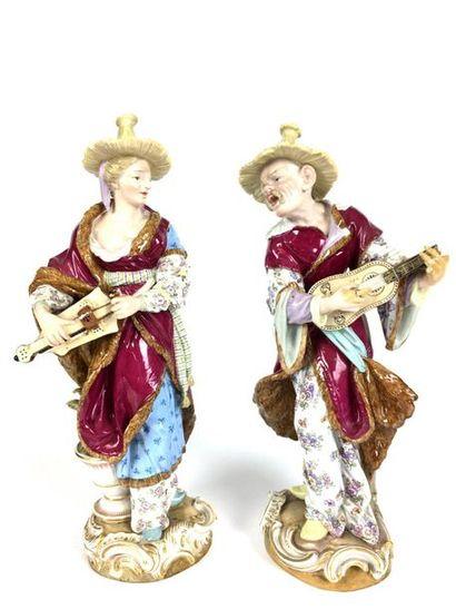 MEISSEN Paire de figurines en porcelaine...