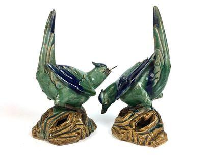 CHINE ou VIETNAM Paire de figurines en céramique...