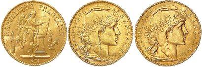 IIIe RÉPUBLIQUE Lot de trois monnaies or...