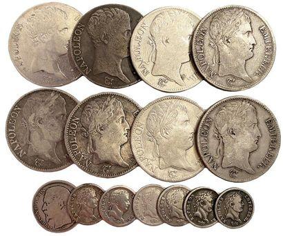 Lot de 15 pièces d'argent NAPOLÉON Ier et...