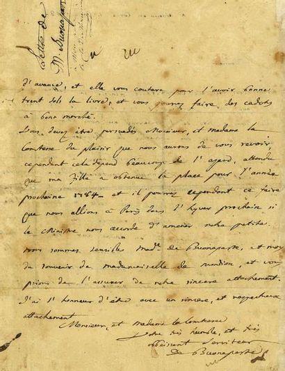 BONAPARTE (Charles). Lettre autographe signée...