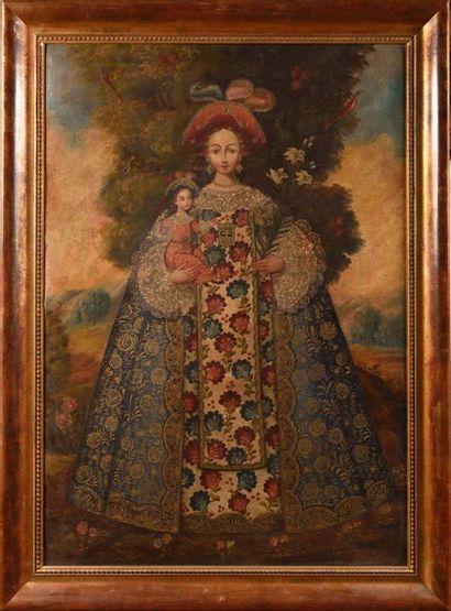 Ecole de Cuzco du XIXème siècle Vierge à...