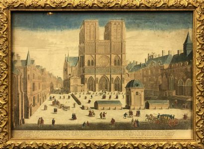 PARIS : Vue perspective de la façade du Louvre...