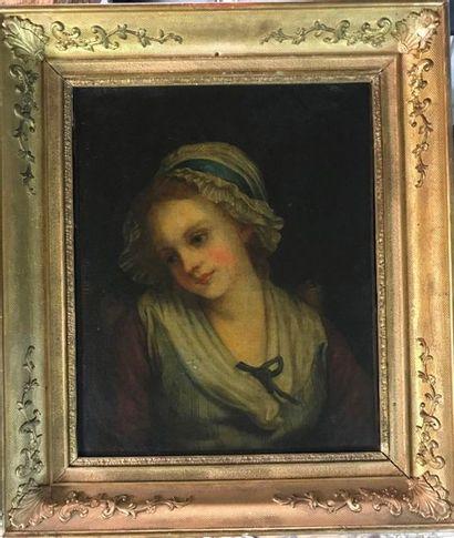 D'après Greuze  Jeune fille  Huile sur toile...
