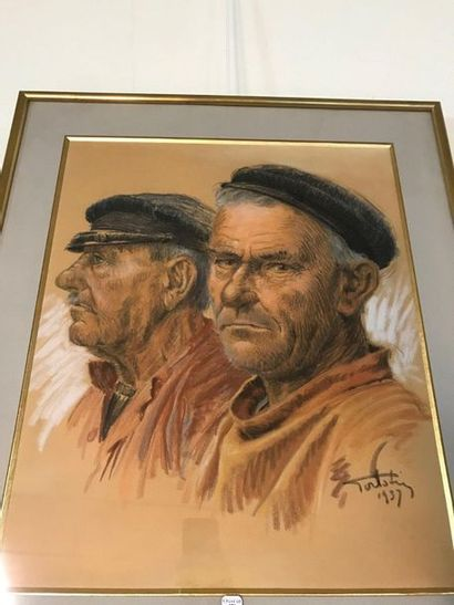 PORTRAIT DE PECHEURS  Crayon  Signé en bas...