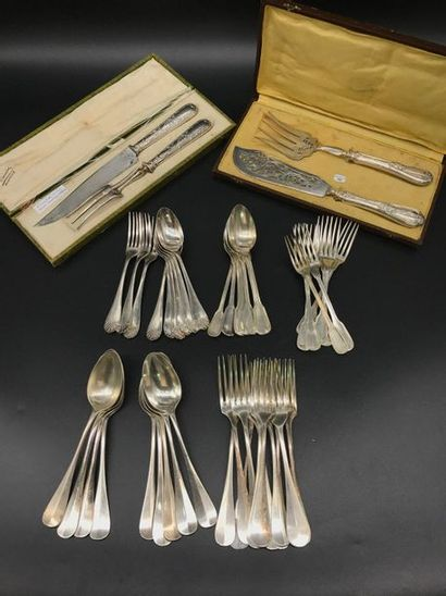 Parties de ménagères en métal argenté (dont...