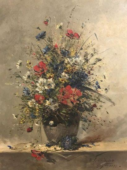 Eugène Henri CAUCHOIS  Bouquet de fleurs  Huile sur toile  Signé et daté en bas...