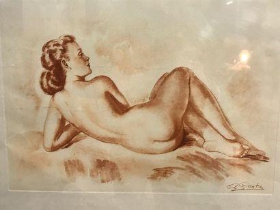 G. SENTA  Nu féminin  Lithographie  38 x 48 cm