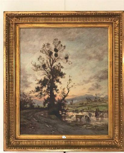Lot de deux paysages  Huile sur toile  Un...