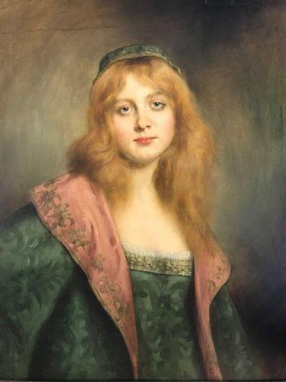 P.L. MERTUILLAT ?  Portrait de femme  Huile...