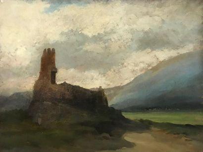 Ecole du XIX ème  siècle  Ruines sur un piton,...