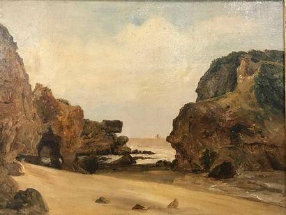 Comte de H. Rochers à Belle-île en mer  Huile...