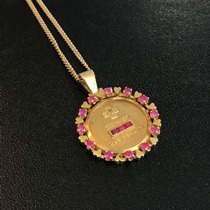 Médaille en pendentif en or jaune ornée de...