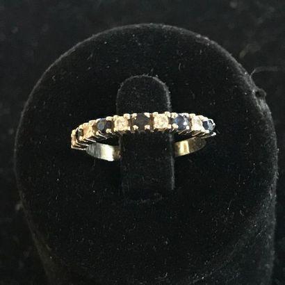 Alliance en or gris 750 millièmes, diamants...