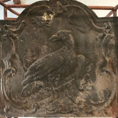 Plaque de cheminée en fonte à décor d'un...