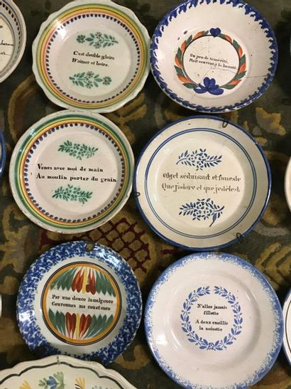 Collection of 18 plates and a bearded message dish. 8 antique earthenware plates...