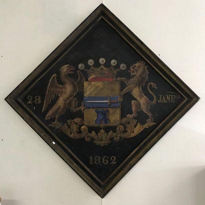 Obiit du Baron de Moyard  Armoiries de la famille sur panneau  daté 28 Janvier 1862...