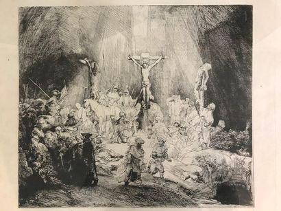Les Trois Croix  D'après Rembrandt  Lithographie...