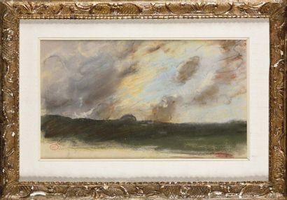 Paul HUET (1803-1869) Ciel nuageux Pastel...